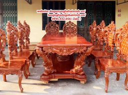 Bộ Bàn Ghế Ăn Louis Hoàng Gia Gõ Đỏ